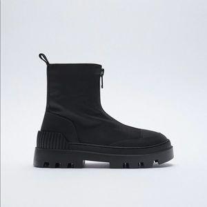NWT. Zara Black Flat Platform Ankle Boots. Size 9.